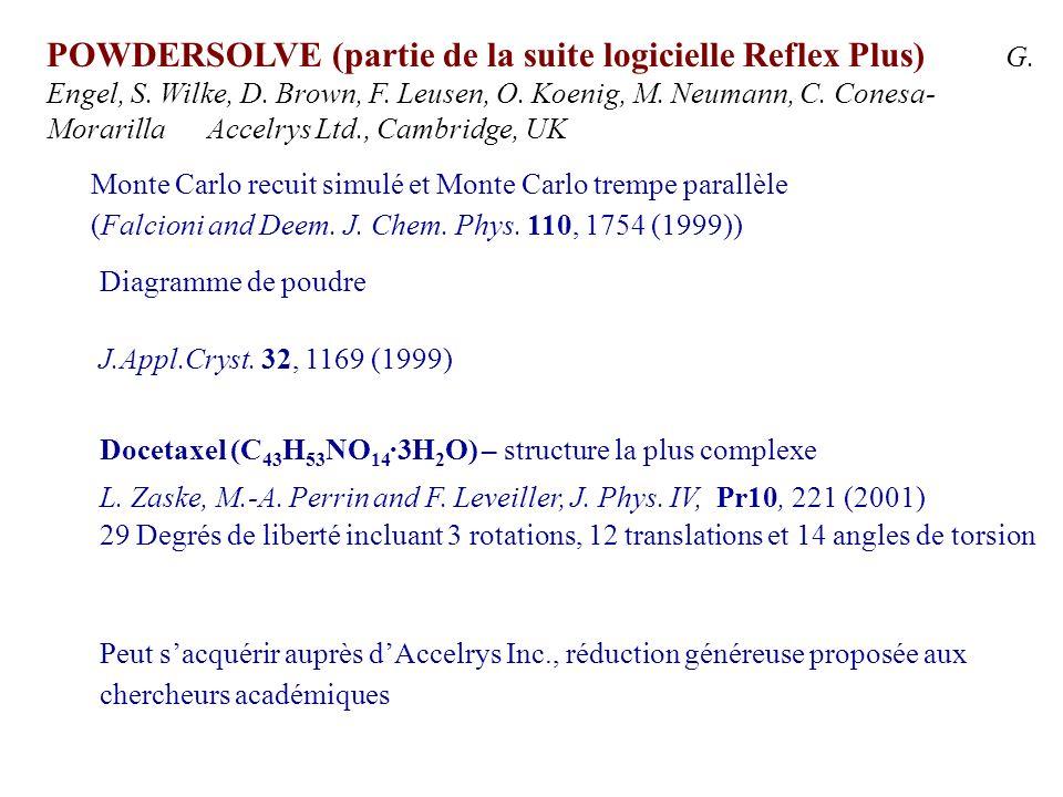 POWDERSOLVE (partie de la suite logicielle Reflex Plus) G. Engel, S