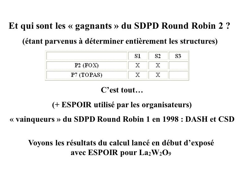Et qui sont les « gagnants » du SDPD Round Robin 2