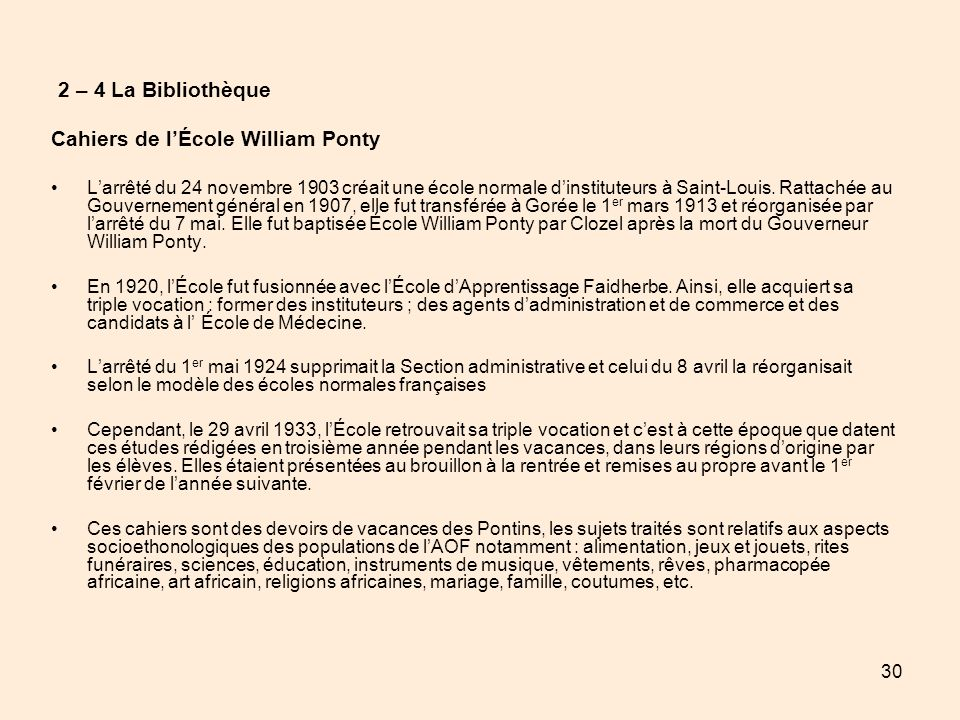 Cahiers de l'École William Ponty