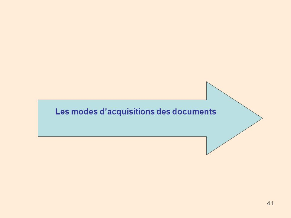 Les modes d'acquisitions des documents