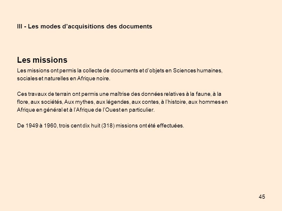 III - Les modes d'acquisitions des documents