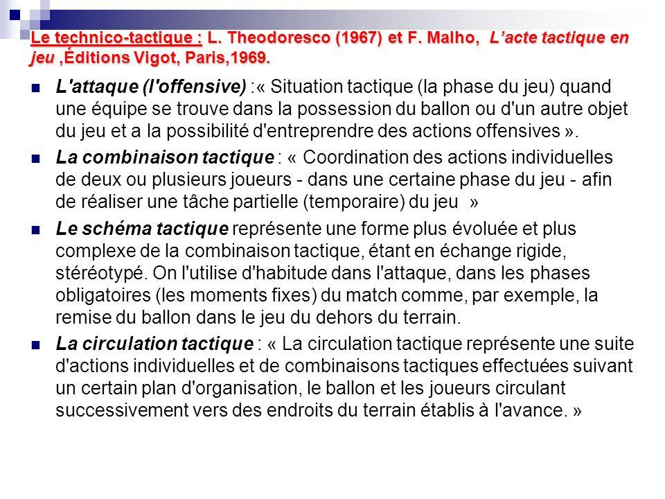 Le technico-tactique : L. Theodoresco (1967) et F