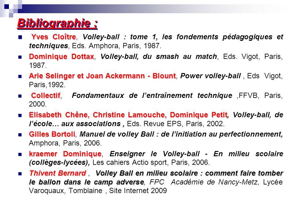 Bibliographie : Yves Cloître, Volley-ball : tome 1, les fondements pédagogiques et techniques, Eds. Amphora, Paris, 1987.