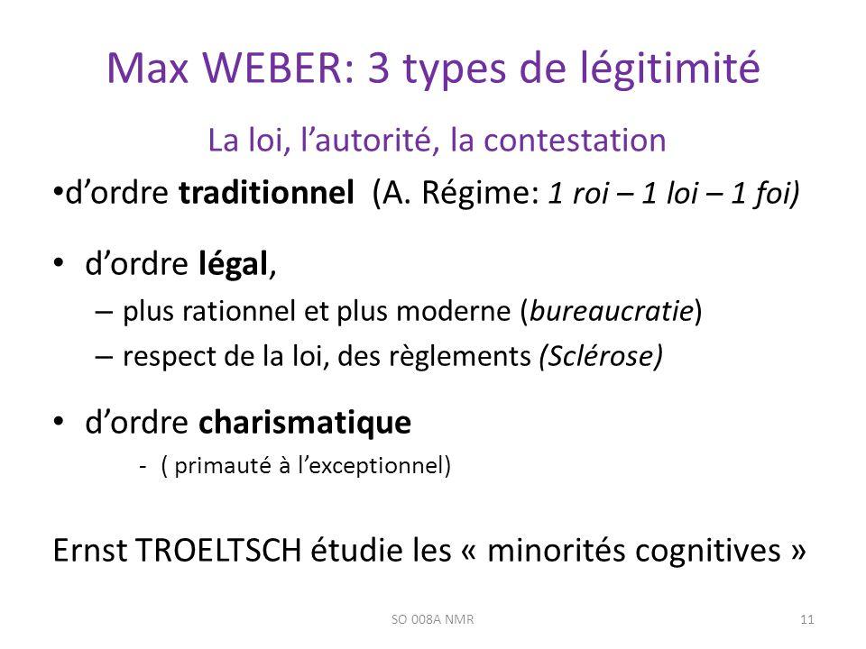 Max WEBER: 3 types de légitimité