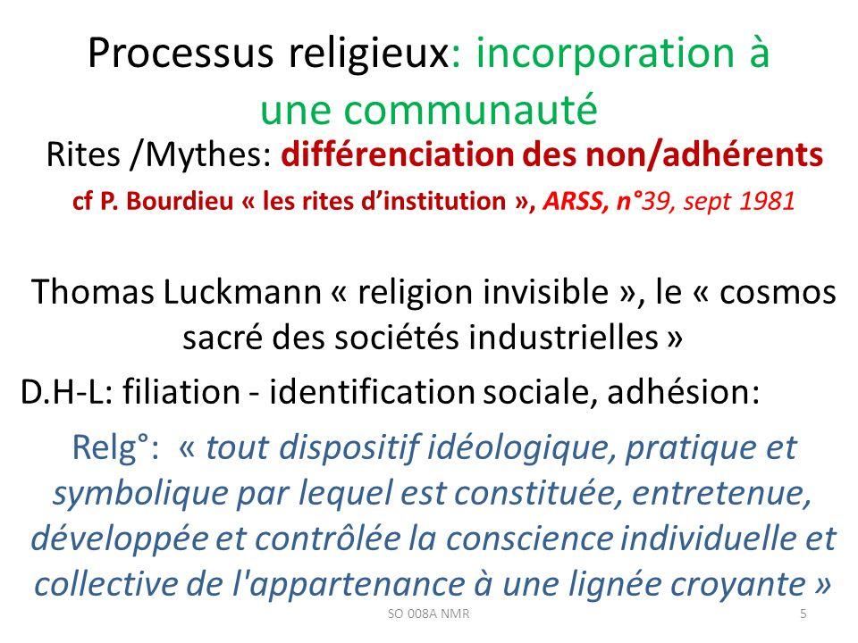 Processus religieux: incorporation à une communauté