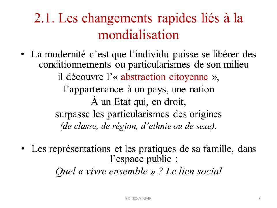 2.1. Les changements rapides liés à la mondialisation