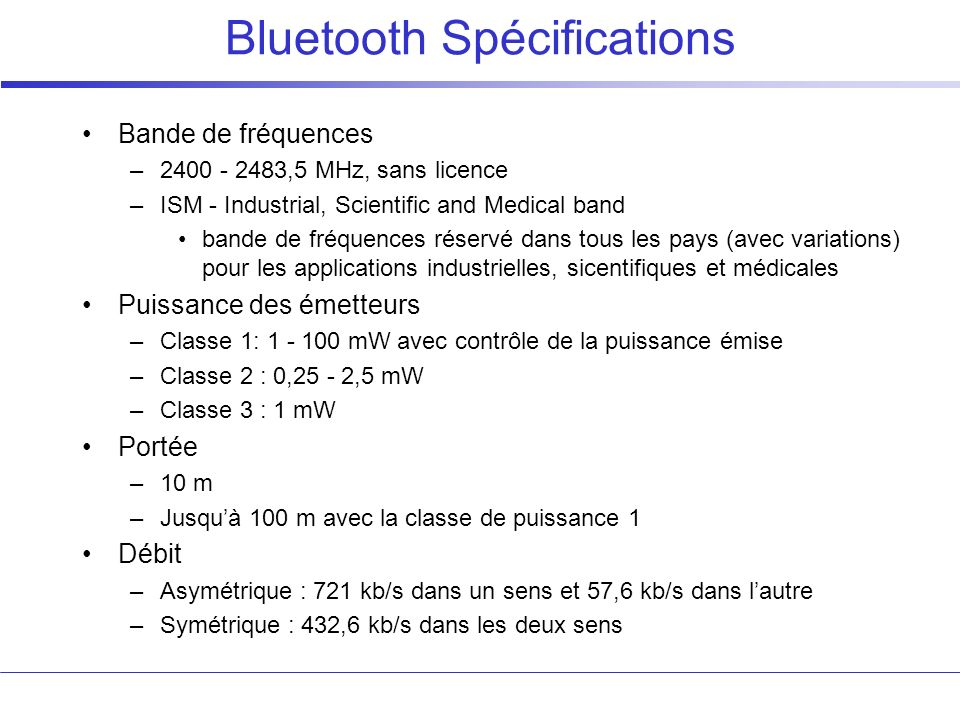 Bluetooth Spécifications