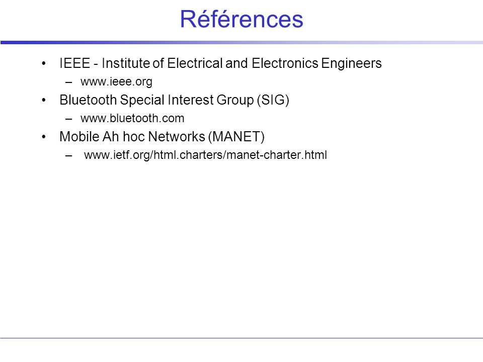 Références IEEE - Institute of Electrical and Electronics Engineers