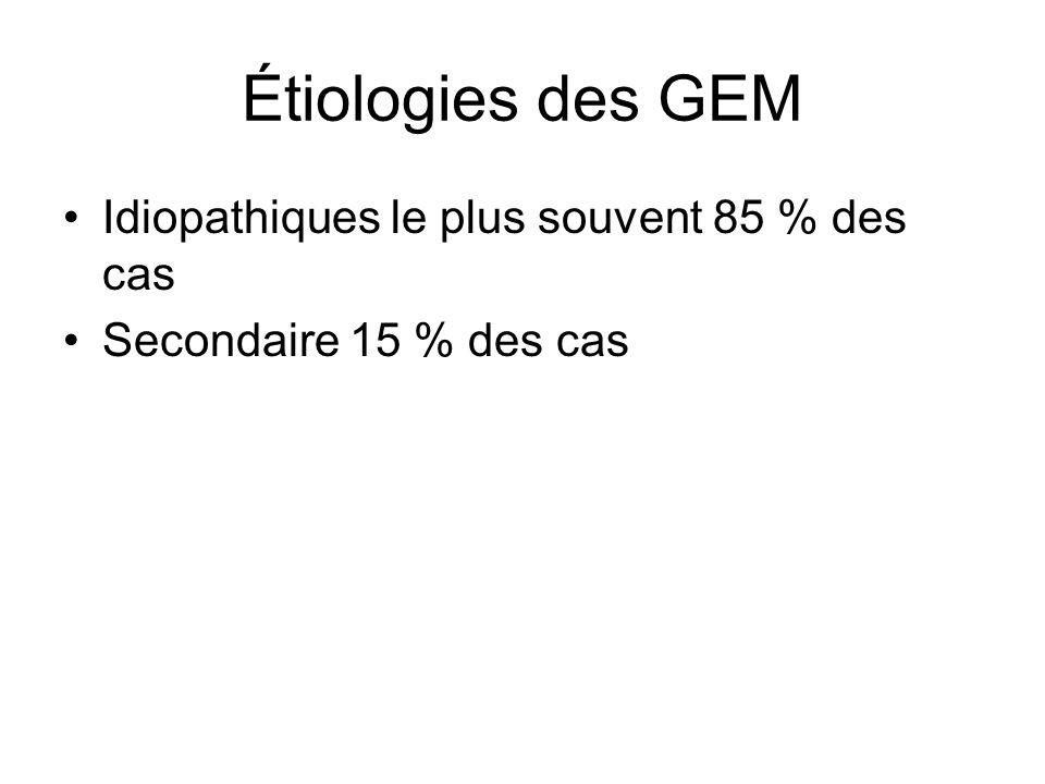 Étiologies des GEM Idiopathiques le plus souvent 85 % des cas
