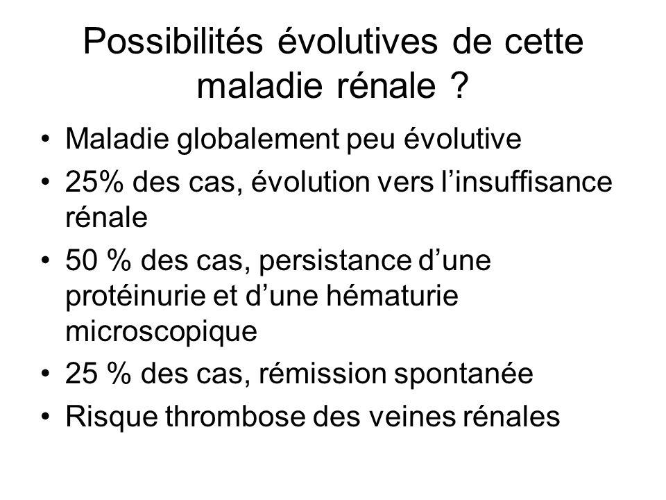 Possibilités évolutives de cette maladie rénale