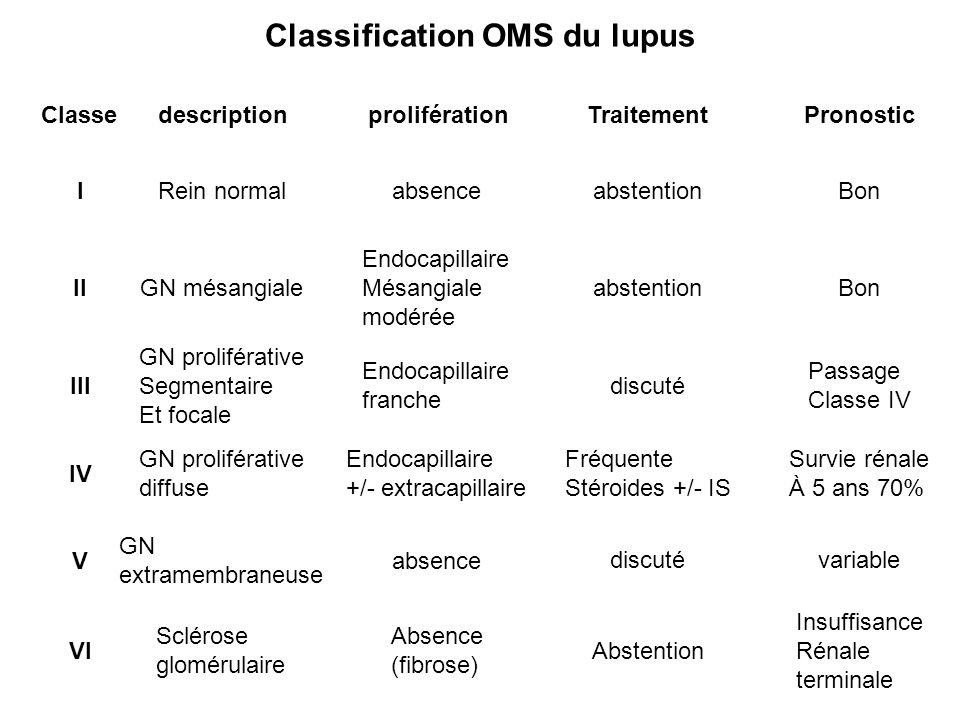 Classification OMS du lupus