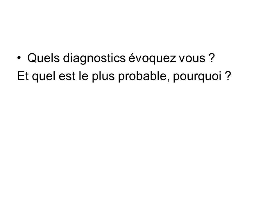 Quels diagnostics évoquez vous