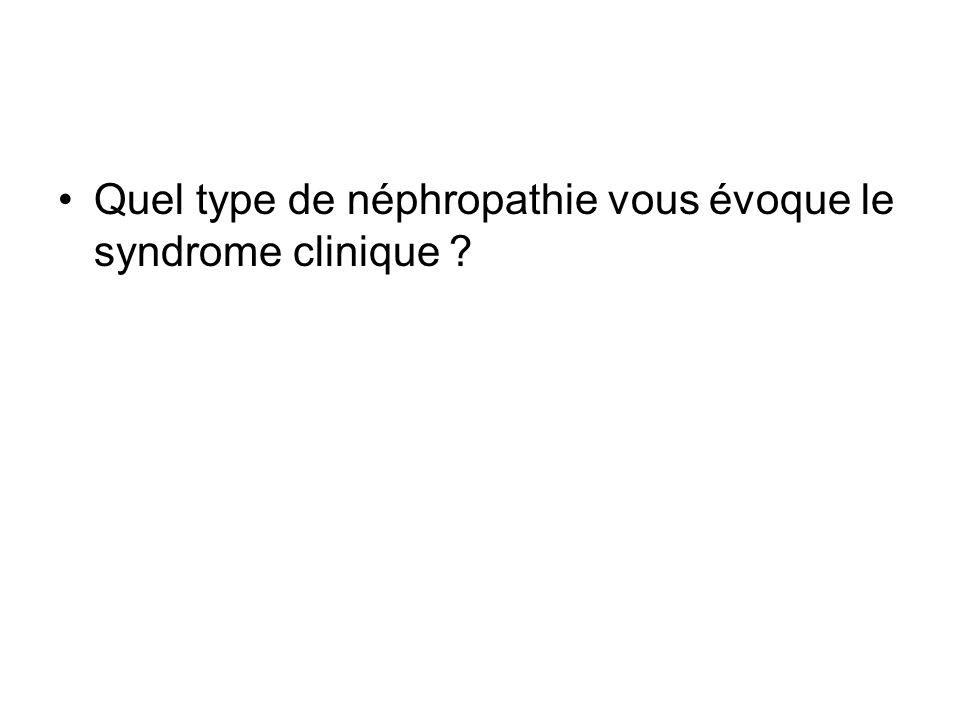 Quel type de néphropathie vous évoque le syndrome clinique