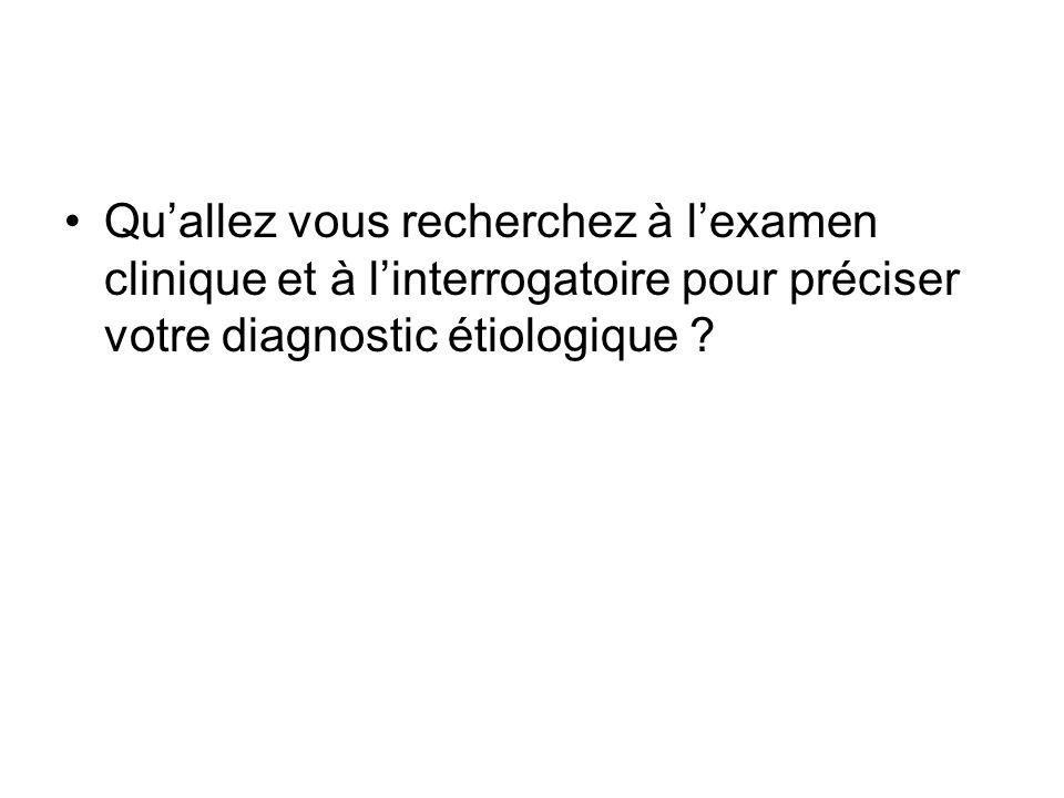 Qu'allez vous recherchez à l'examen clinique et à l'interrogatoire pour préciser votre diagnostic étiologique