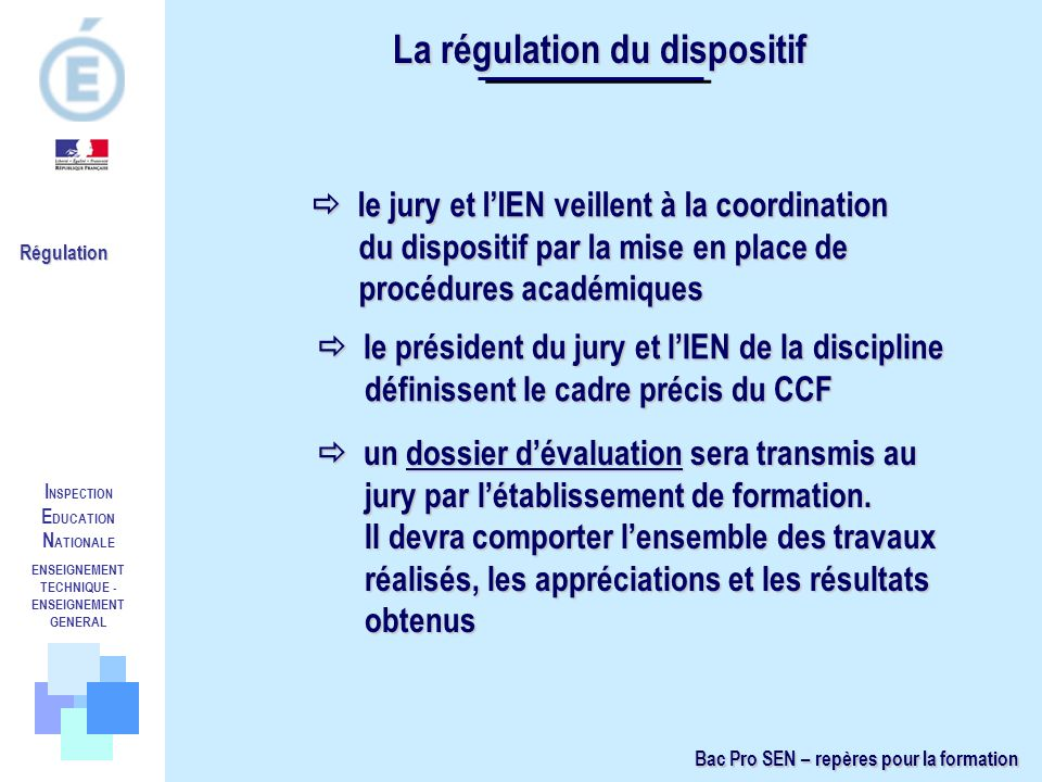 La régulation du dispositif