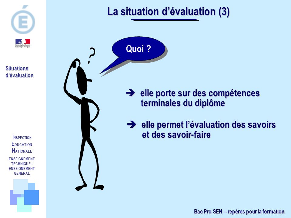 La situation d'évaluation (3)