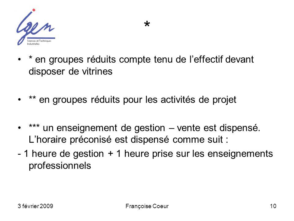 * * en groupes réduits compte tenu de l'effectif devant disposer de vitrines. ** en groupes réduits pour les activités de projet.
