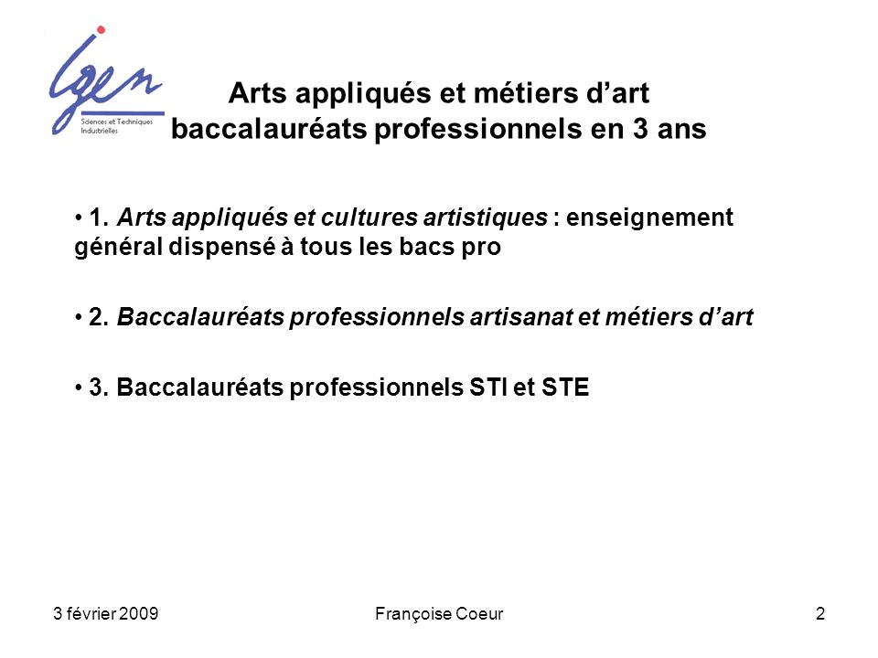 Arts appliqués et métiers d'art baccalauréats professionnels en 3 ans