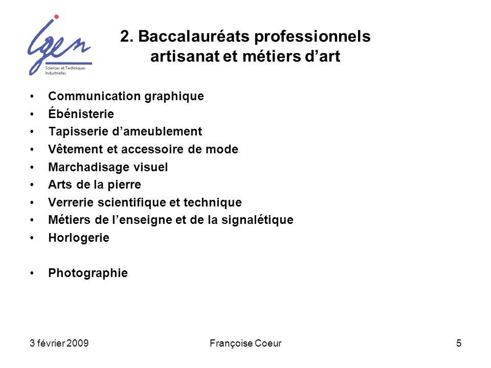 2. Baccalauréats professionnels artisanat et métiers d'art