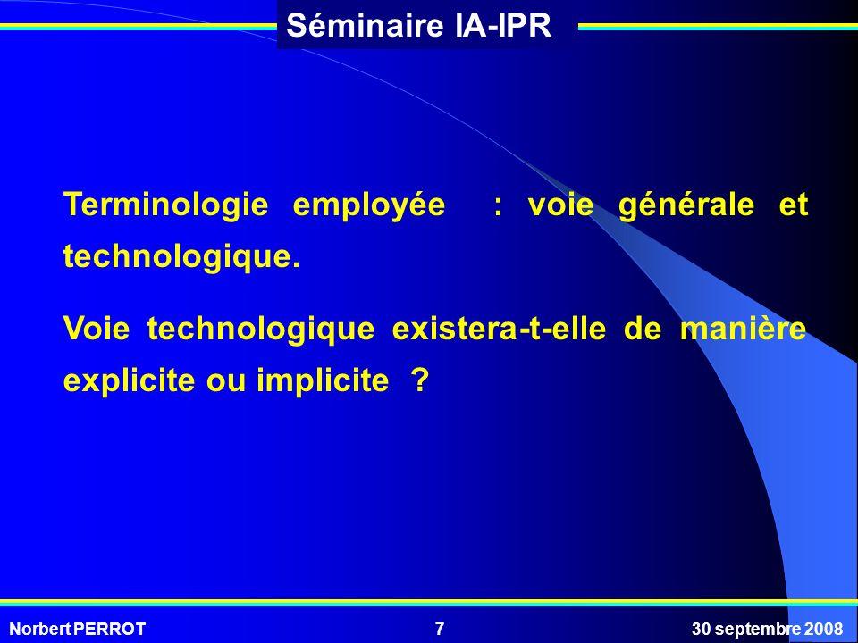Terminologie employée : voie générale et technologique.