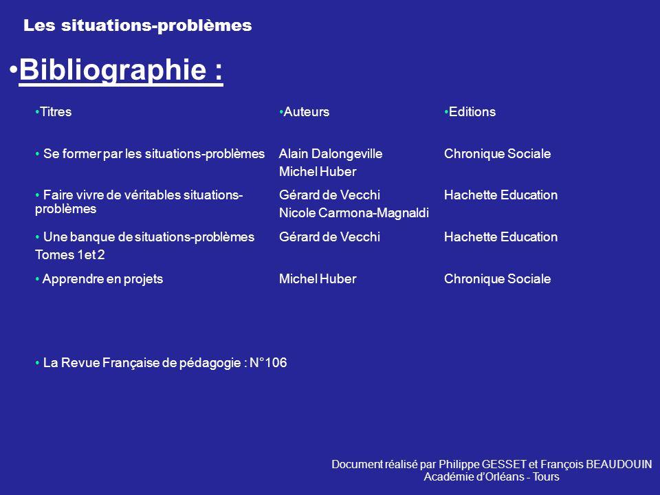 Bibliographie : Les situations-problèmes