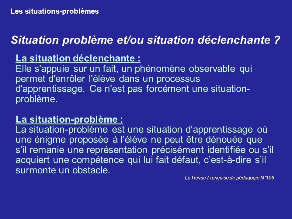 Situation problème et/ou situation déclenchante
