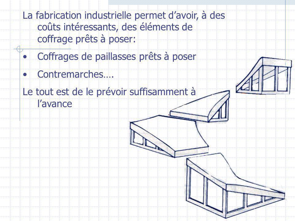 La fabrication industrielle permet d'avoir, à des coûts intéressants, des éléments de coffrage prêts à poser: