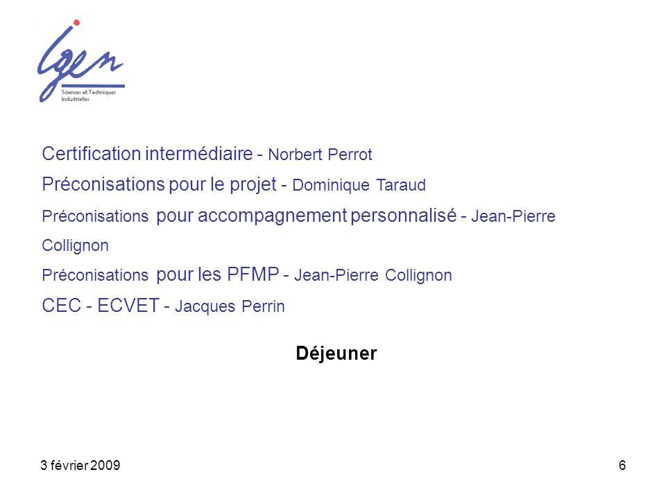 Certification intermédiaire - Norbert Perrot