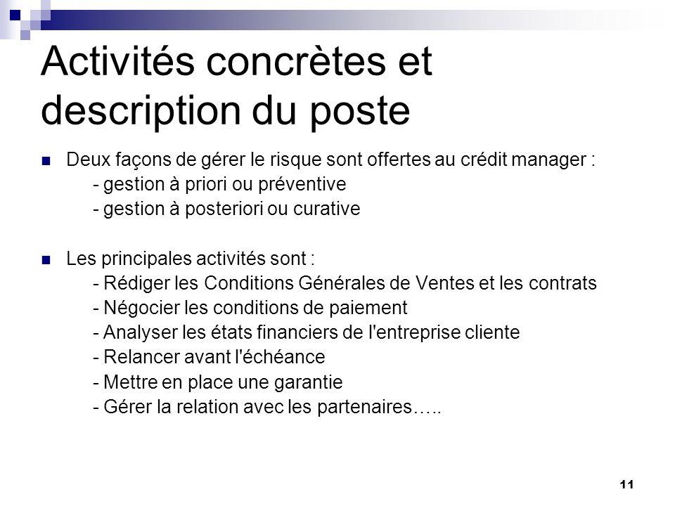 Activités concrètes et description du poste