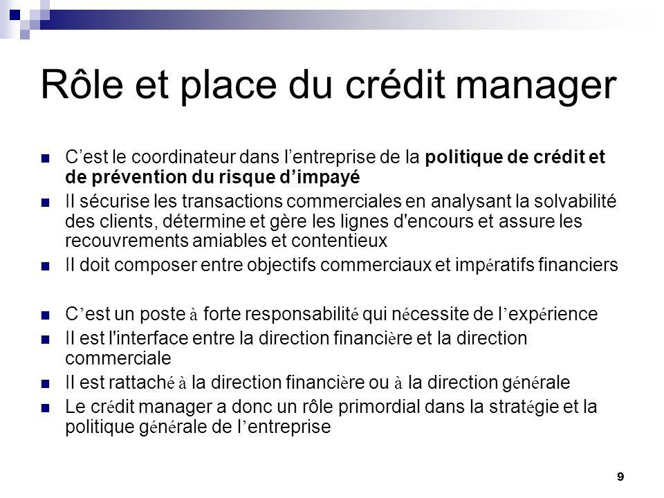 Rôle et place du crédit manager