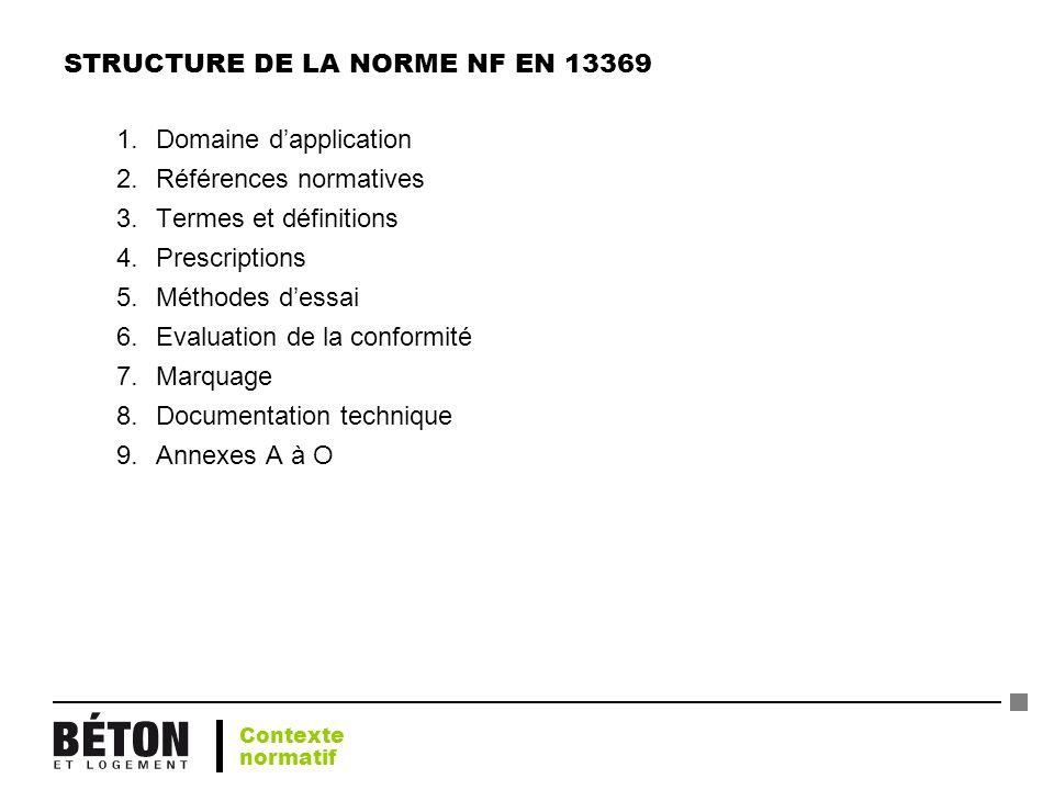 STRUCTURE DE LA NORME NF EN 13369