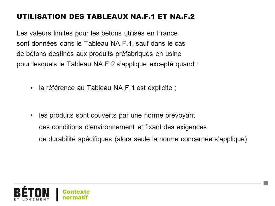 UTILISATION DES TABLEAUX NA.F.1 ET NA.F.2