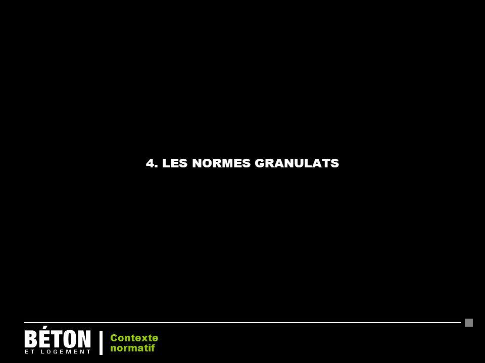 4. LES NORMES GRANULATS Contexte normatif 22