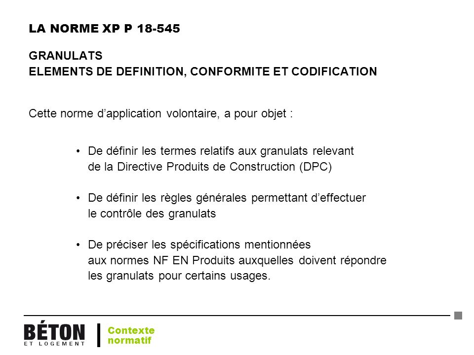 ELEMENTS DE DEFINITION, CONFORMITE ET CODIFICATION