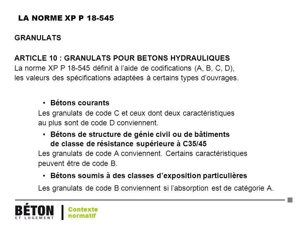 ARTICLE 10 : GRANULATS POUR BETONS HYDRAULIQUES