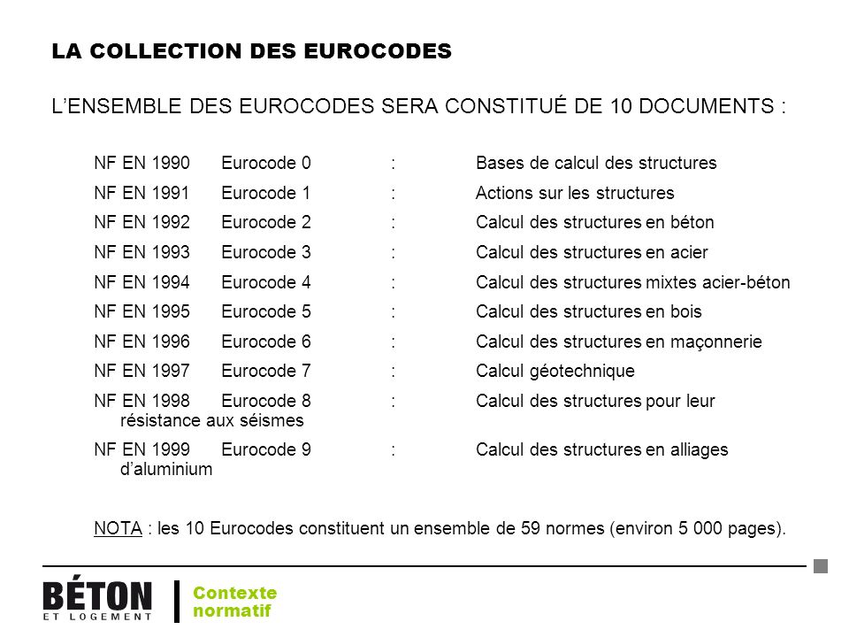 LA COLLECTION DES EUROCODES