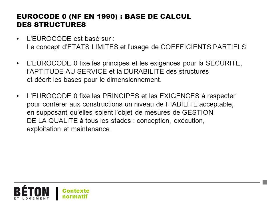 EUROCODE 0 (NF EN 1990) : BASE DE CALCUL DES STRUCTURES