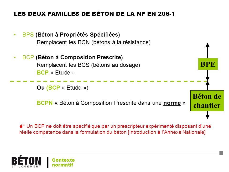 LES DEUX FAMILLES DE BÉTON DE LA NF EN 206-1