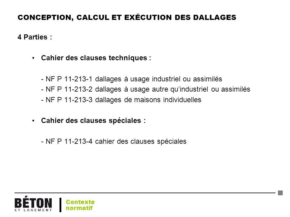 CONCEPTION, CALCUL ET EXÉCUTION DES DALLAGES
