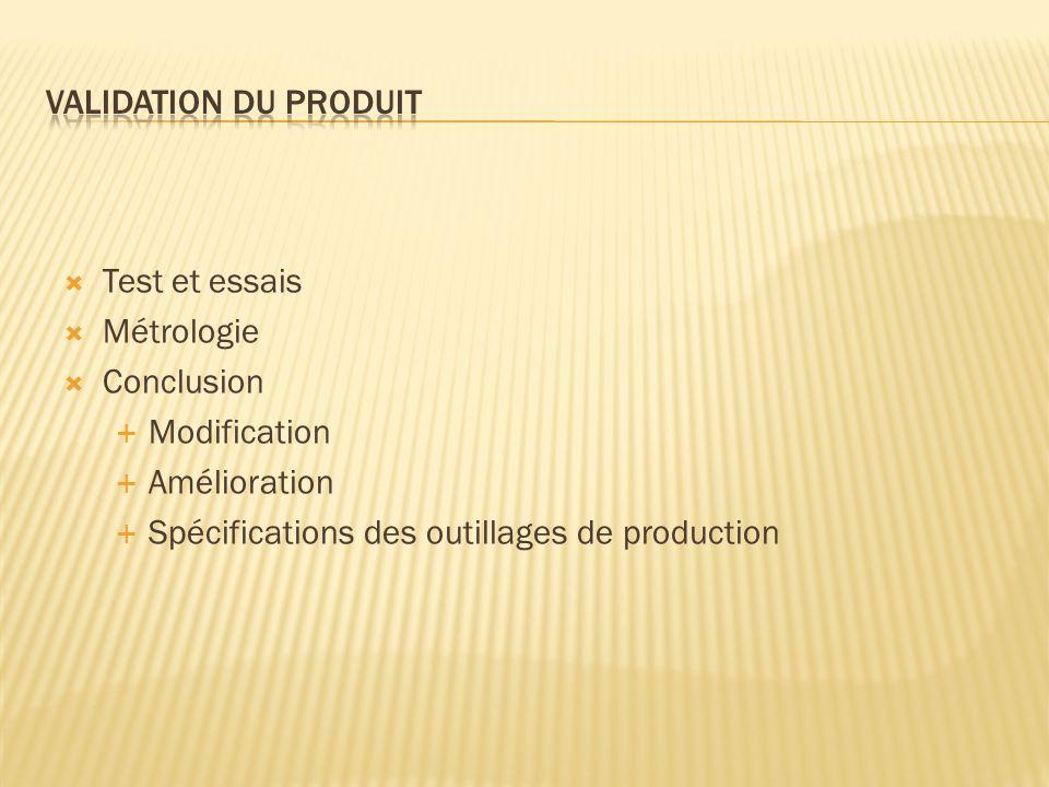 Validation du produit Test et essais. Métrologie.