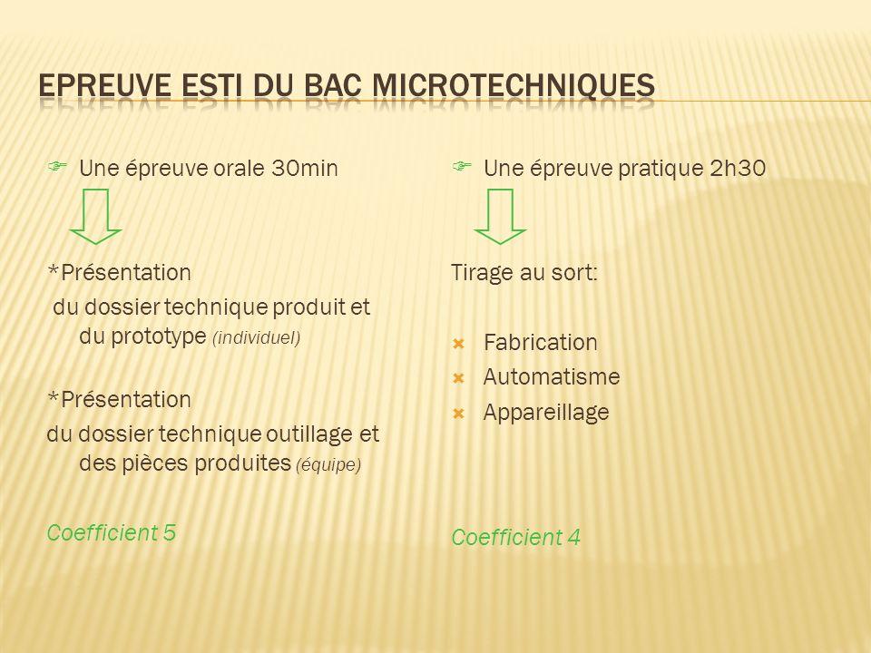 Epreuve ESTI du bac Microtechniques