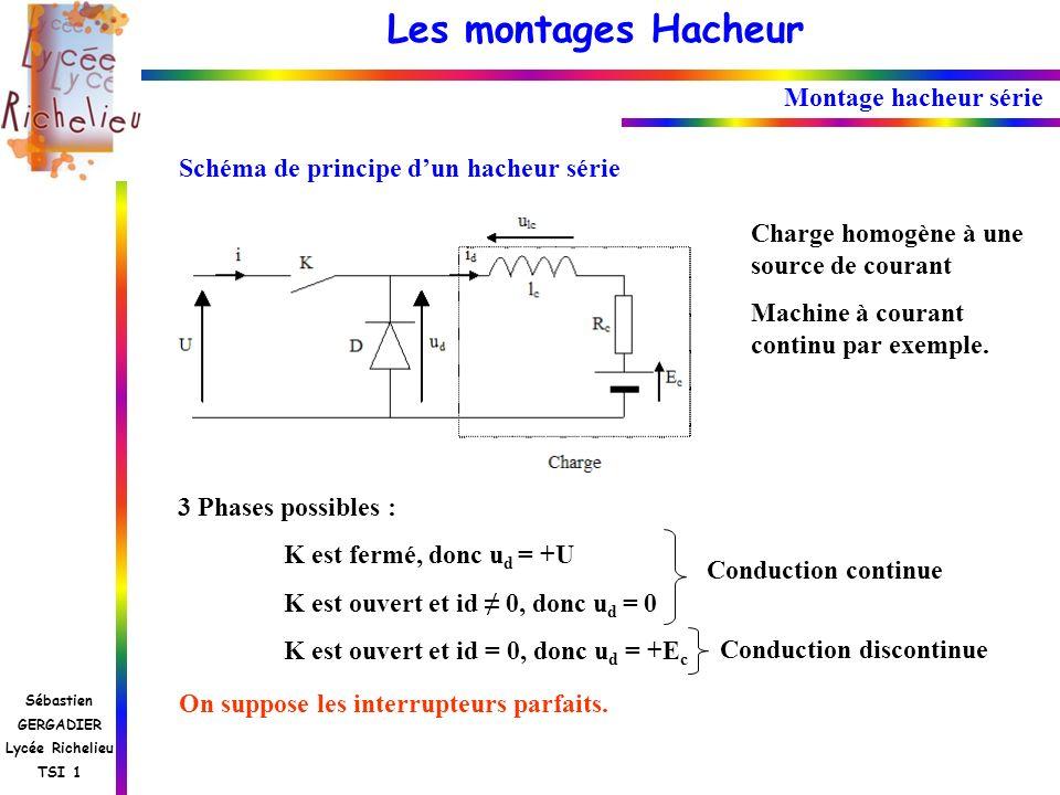 Montage hacheur série Schéma de principe d'un hacheur série. Charge homogène à une source de courant.