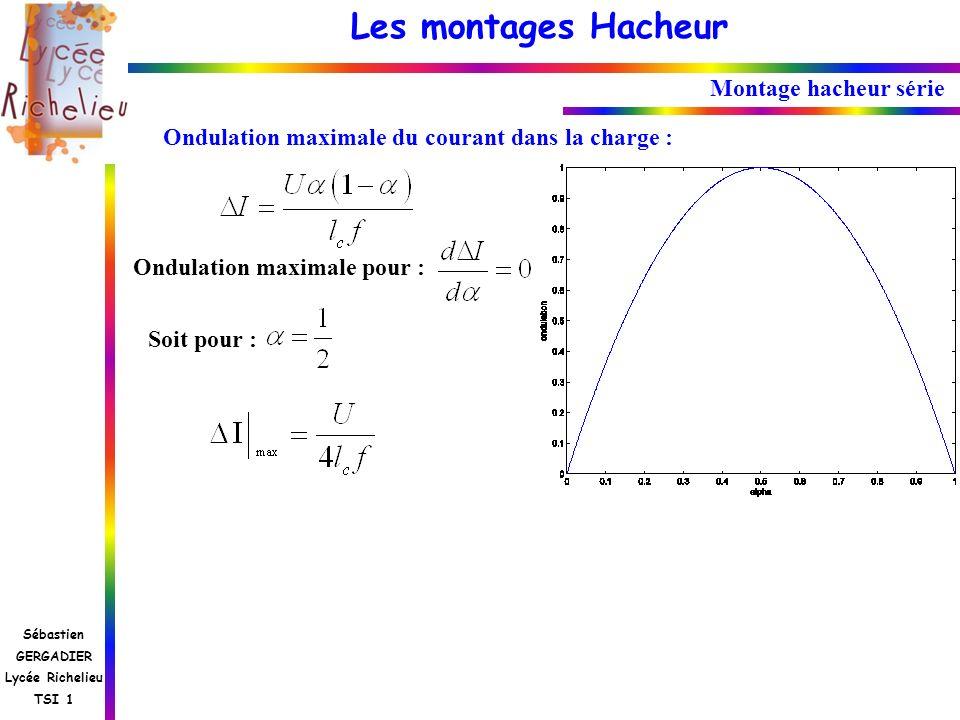 Montage hacheur sérieOndulation maximale du courant dans la charge : Ondulation maximale pour : Soit pour :