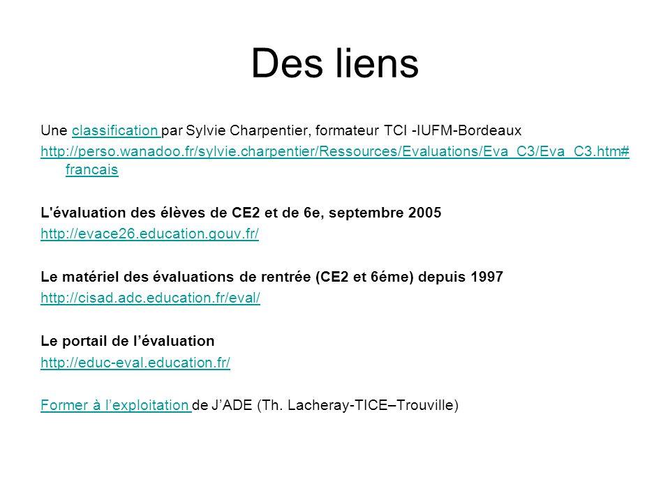 Des liens Une classification par Sylvie Charpentier, formateur TCI -IUFM-Bordeaux.