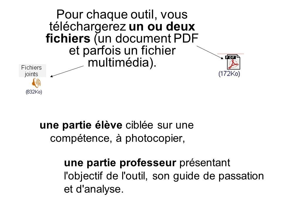 Pour chaque outil, vous téléchargerez un ou deux fichiers (un document PDF et parfois un fichier multimédia).