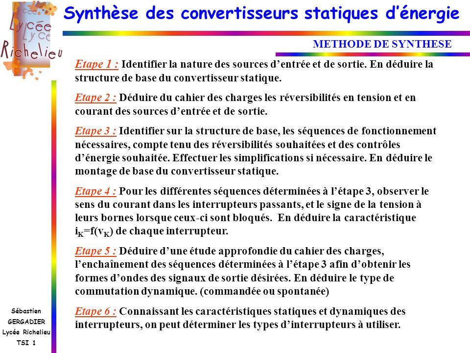 METHODE DE SYNTHESE Etape 1 : Identifier la nature des sources d'entrée et de sortie. En déduire la structure de base du convertisseur statique.