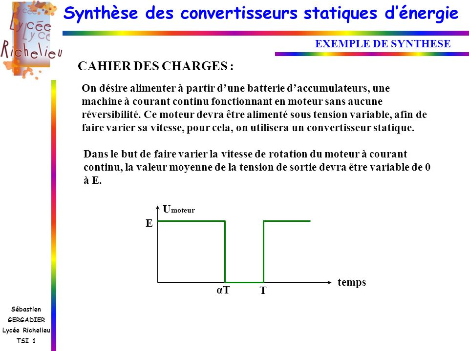 CAHIER DES CHARGES : EXEMPLE DE SYNTHESE