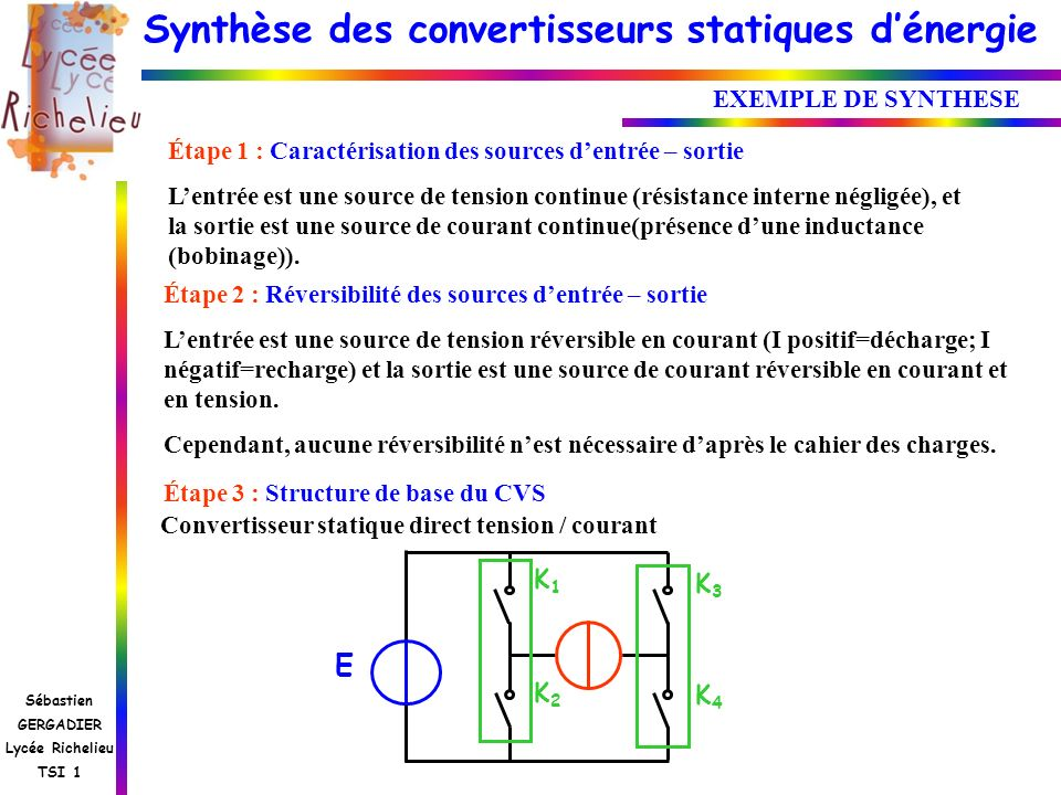 E K1 K3 EXEMPLE DE SYNTHESE