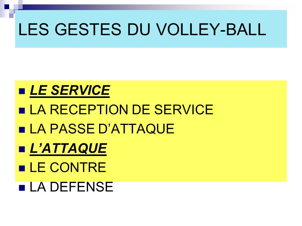 LES GESTES DU VOLLEY-BALL