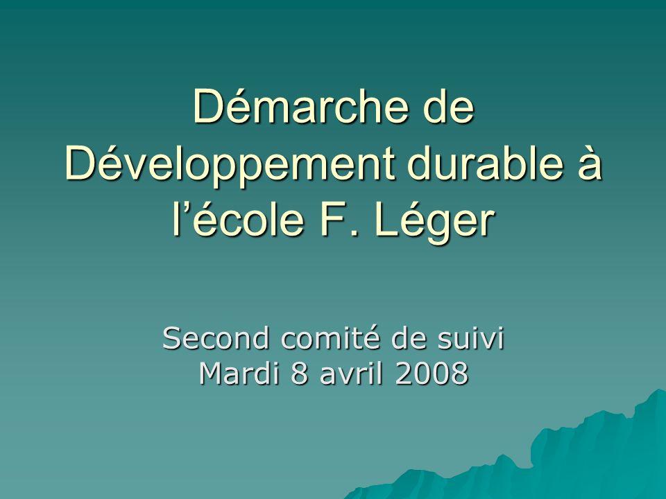 Démarche de Développement durable à l'école F. Léger